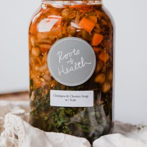 chickpea & chorizo soup with garden kale