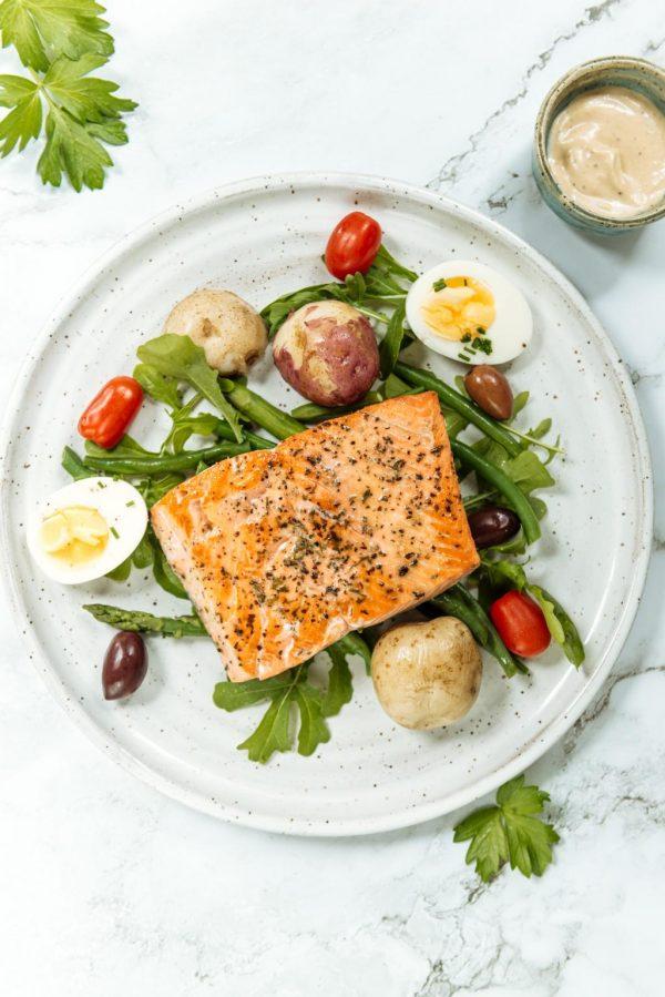 nicoise salad with wild salmon