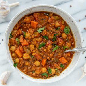 lentil + chickpea stew w/ saffron + ginger