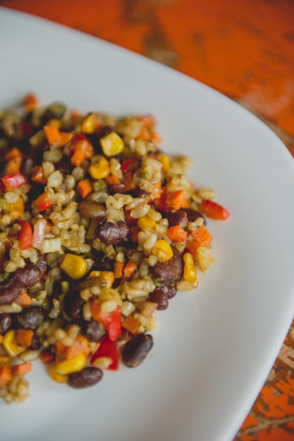 black bean and brown rice salad, grilled corn, chipotle dressing