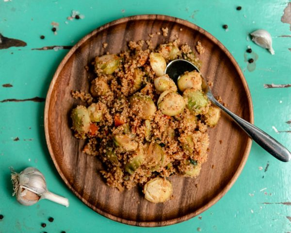 kimchi + brussels sprouts fried quinoa