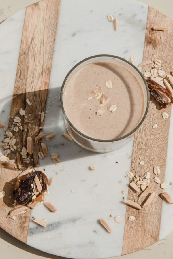 Date, almond, oat + banana hemp protein shake