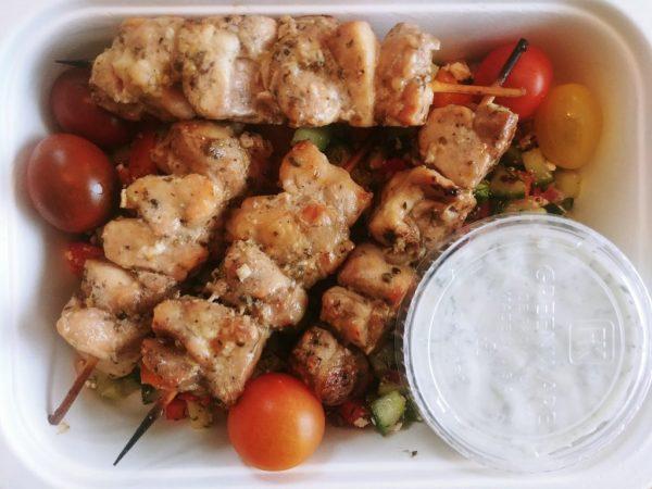 Chicken Souvlaki Skewer w/ Greek Salad + Tzatziki