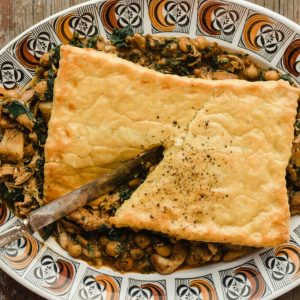 Jamaican chicken, chickpea + spinach pot pie