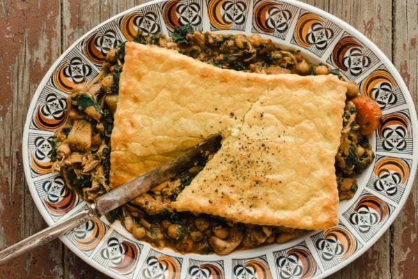 Jamaican chicken, chickpea + spinach pot pie