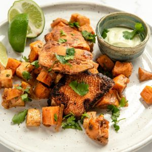 smoky ancho pickerel or tofu w/ celeriac sweet potato hash
