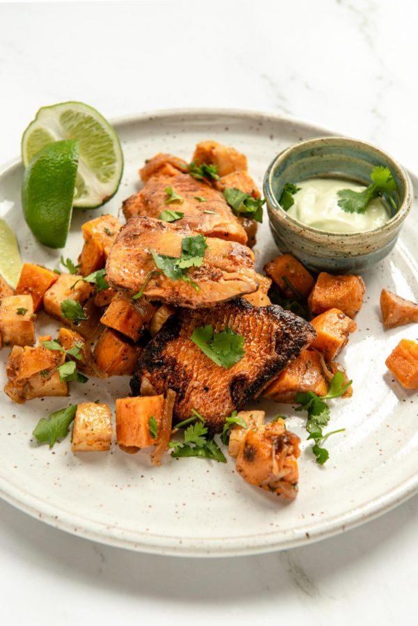 smoky ancho pickerel or tofu w/ celeriac sweet potato hash